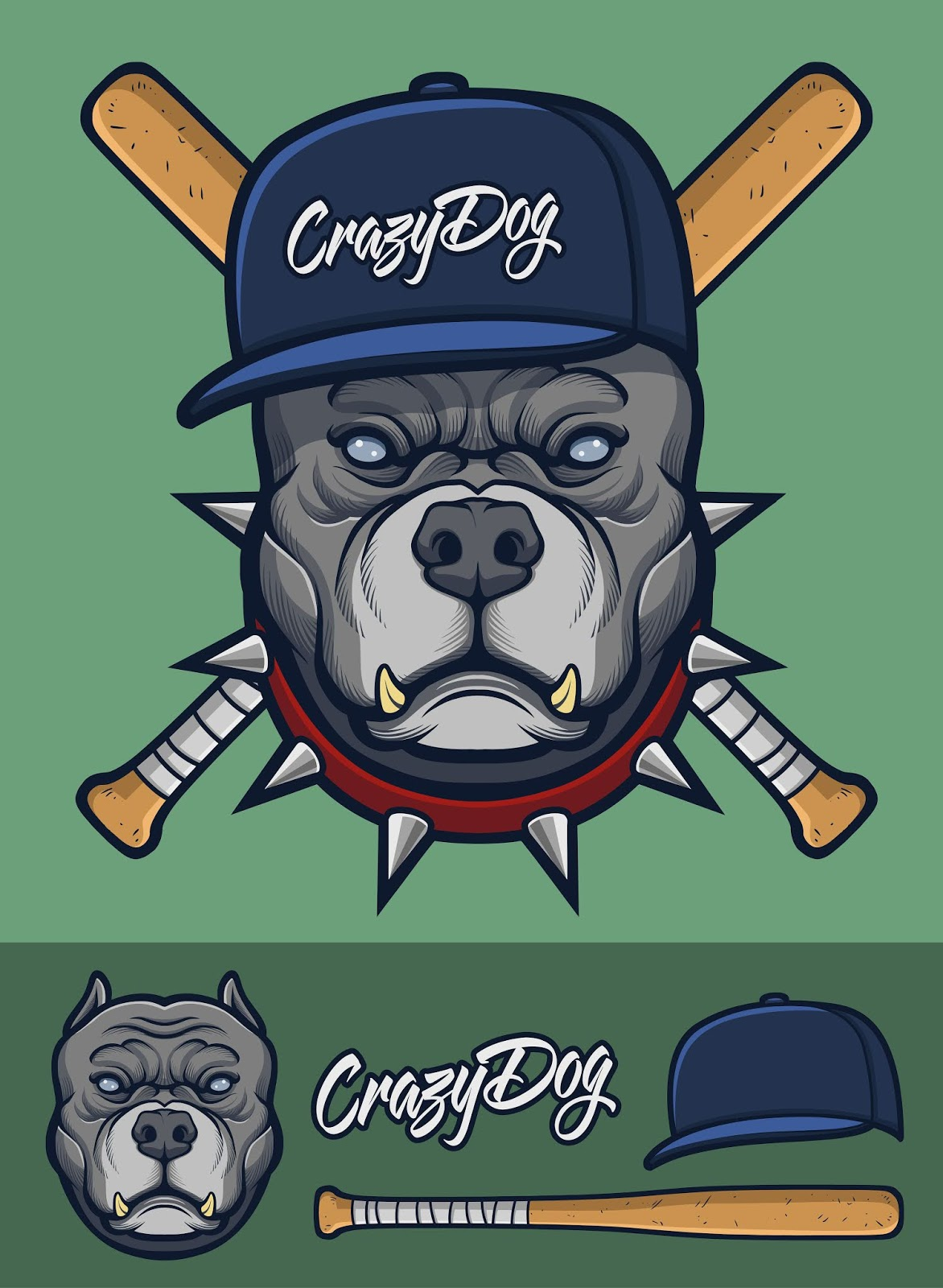 Grey Pitbull With Spiked Collar Baseball Bats Free Download Vector CDR, AI, EPS and PNG Formats