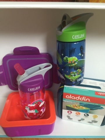 CamelBak water bottle in Unicorn and Iguana and Aladdin insulated food container