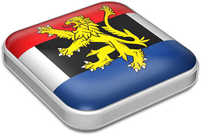 Flag of Benelux with metallic square frame