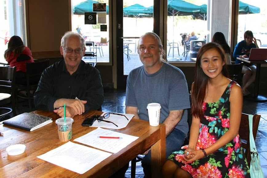 Right to left, Hannah Nguyen, Robert D. Skeels, and Dr. Stephen Krashen