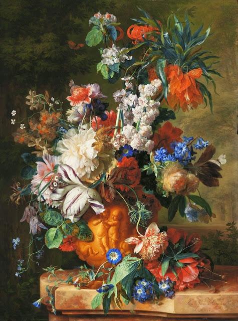 Jan van Huysum - Bouquet of Flowers in an Urn