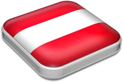 Flag of Austria with metallic square frame