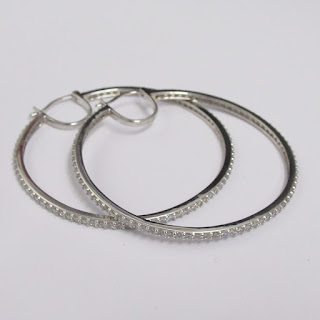 Sterling Silver and Clear Stone Hoop Earrings
