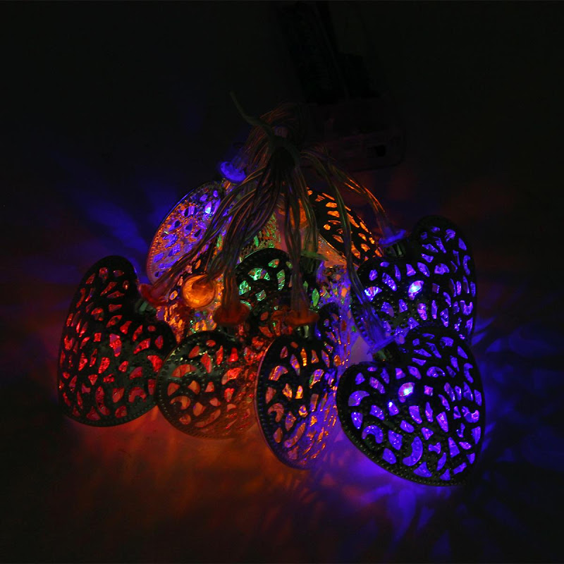 10LED Metal Battery Operated String Heart Lights Outdoor Christmas Tree Party