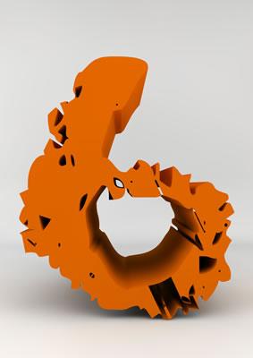 lettre 3D chiffron de craie orange - 6 - images libres de droit