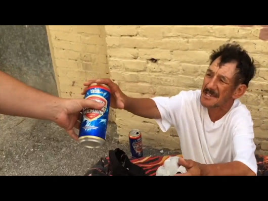 Diego Lee Rot distributes free beer on Saturdays downtown to down andou...