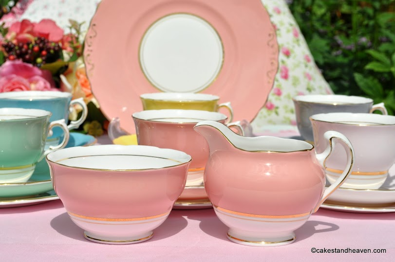 Harlequin vintage china milk jug and sugar bowl