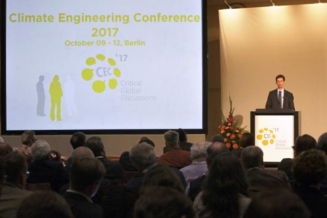 The opening of the Climate Engineering Conference 2017 in Berlin, 10 October 2017. Photo: Dirk Enters / IASS