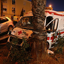 Accidente ambulancia en Montijo