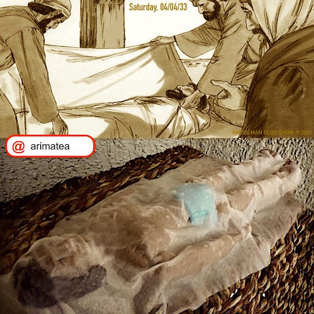 Sábado Santo: Madelman con el sudario que compró el de Arimatea
