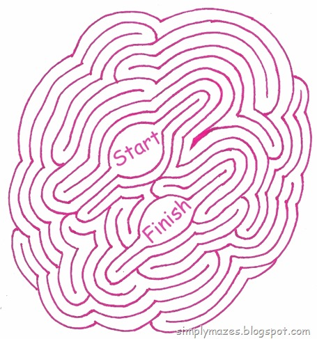 Maze Number 124: Double Mint.  A printable pink maze.