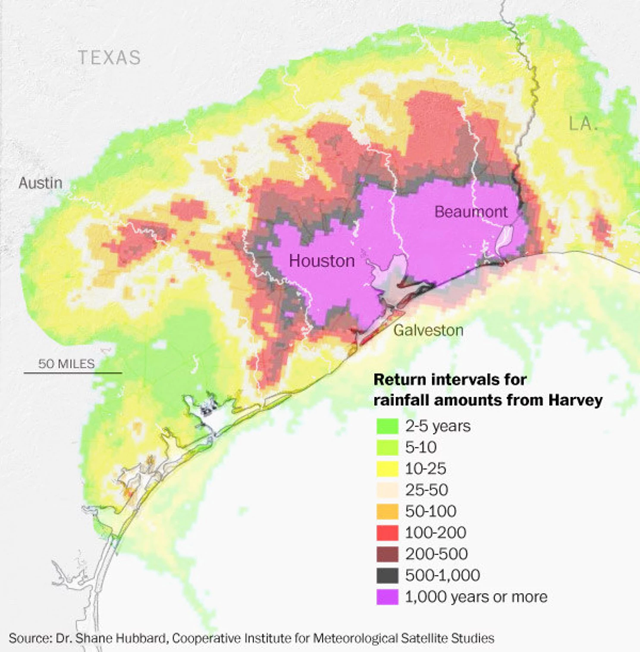 Return intervals for rainfall amounts from Hurricane Harvey. Graphic: Dr. Shane Hubbard / Cooperative Institute for Meteorological Satellite Studies
