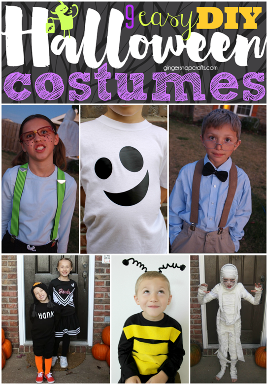 9 Easy DIY Halloween Costumes at GingerSnapCrafts.com
