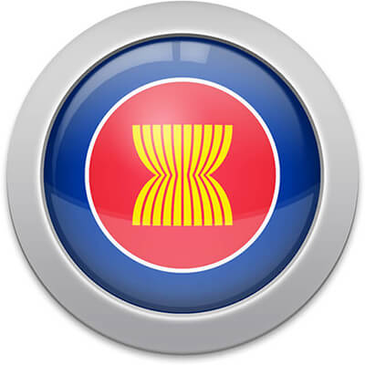 ASEAN flag icon with a silver frame