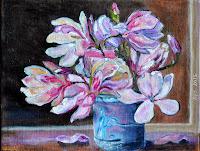 masterpiece oil magnolia in vase