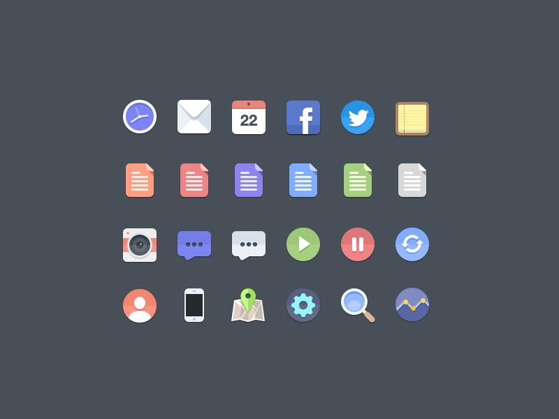 Free 24 Flat Icons PSD