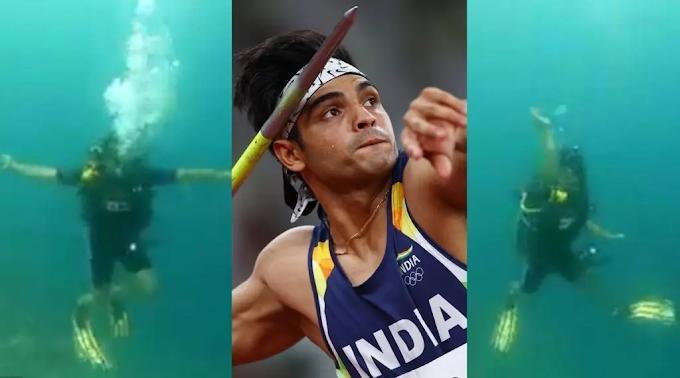 Neeraj Chopra enacts throwing a javelin underwater in Maldives