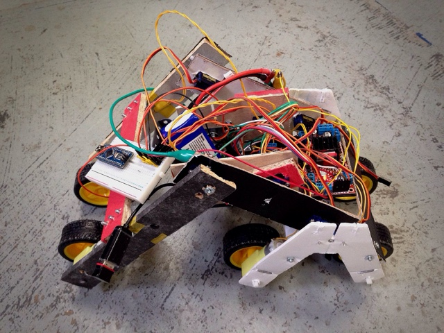 A very early prototype of a stair climbing robot.