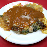 delicious oyster omelette at the Shilin night market in Taipei in Taipei, T'ai-pei county, Taiwan
