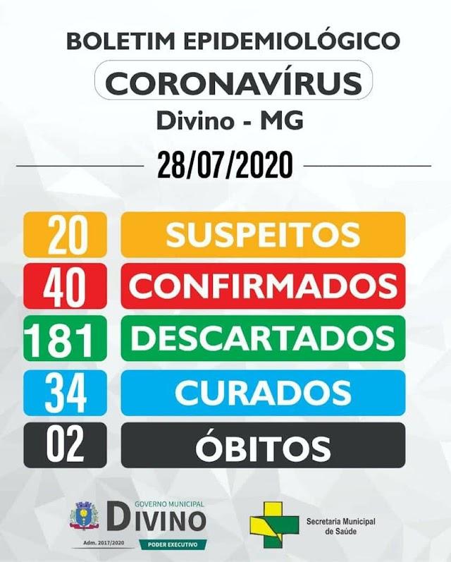 Novo caso de Covid-19 é registrado em Divino