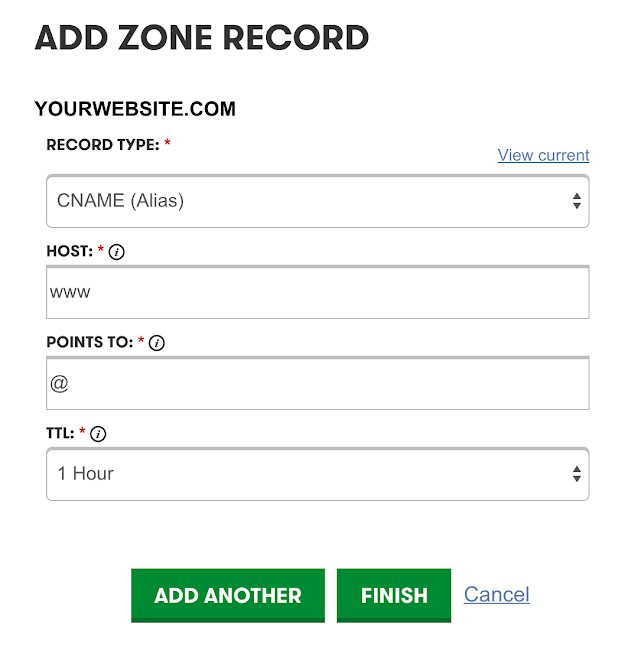 Create Dynamic Subdomains CNAME ZONE settings add