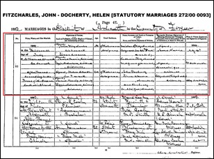FITZCHARLES_John marriage to Helen DOCHERTY_13 Jul 1883