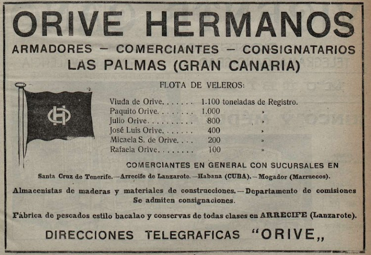 Anuncio de Orive Hermanos en que se aprecia la contraseña de la compañia. revista La Vida Maritima en su edición del 3 de junio de 1919.bmp