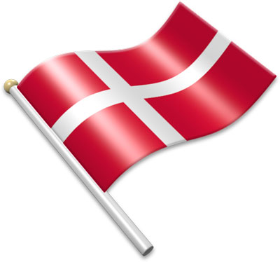 The Danish flag on a flagpole clipart image