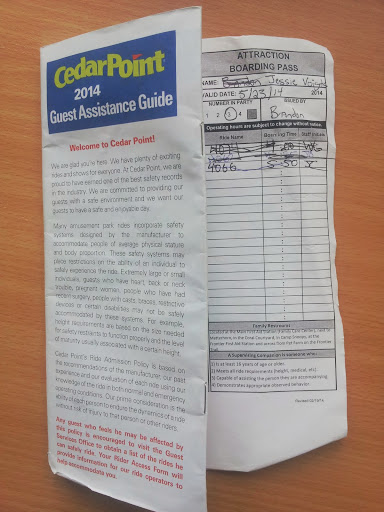 Cedar Point Guest Assistance Guide and Boarding Pass
