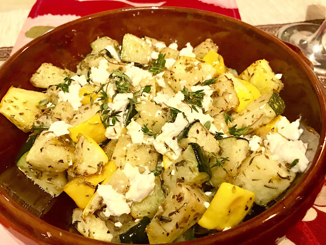 Roasted summer squash with thyme and feta chesse