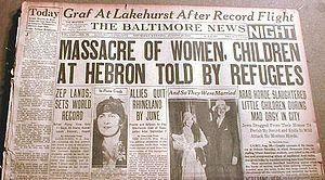 300px Hebron massacre newspaper  النكبة الهُراء: اضطهاد اليهود في عقر دارهم (الفصل الأول / الحلقة الثانية)