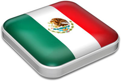 Flag of Mexico with metallic square frame