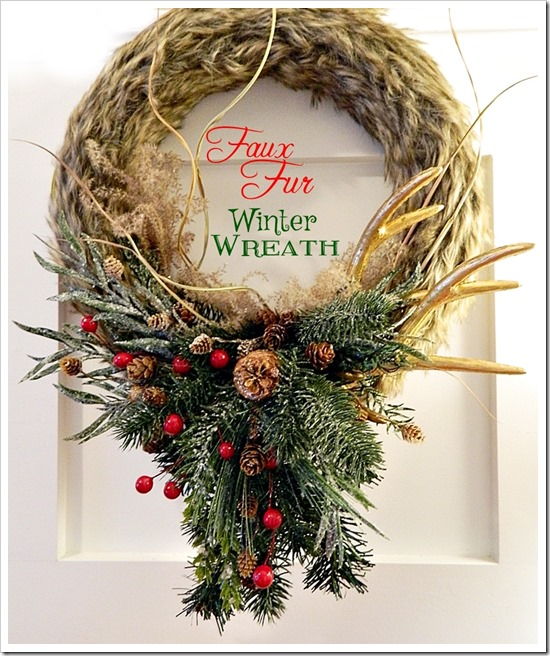 faux fur antler wreath 19a