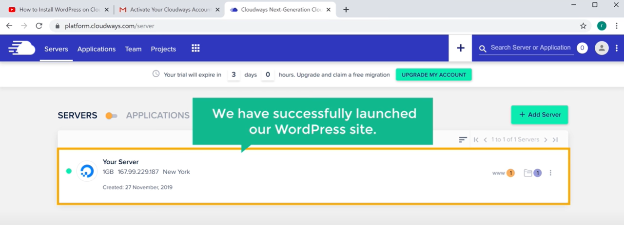 launch a WordPress site on cloudways