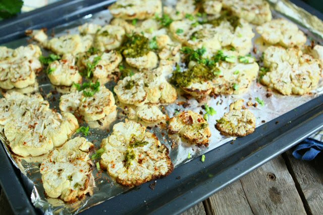Roasted Cauliflower with Parsley Sauce