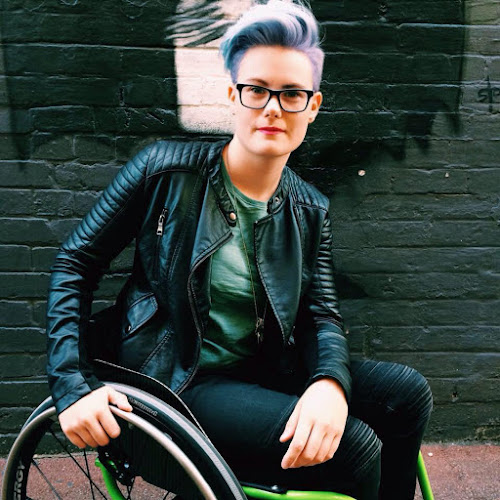 Robyn Lambird in a wheelchair