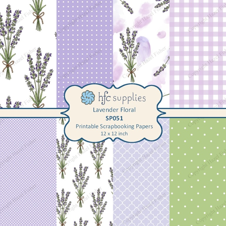 SP051 Lavender Floral scrapbooking papers set flower pattern digital printables hfcSupplies 1