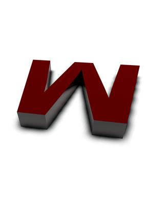 lettre 3D rouge de Chine - W - images libres de droit