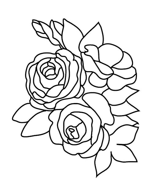 Rose Sketch To Color Rose Sketch Three Roses
