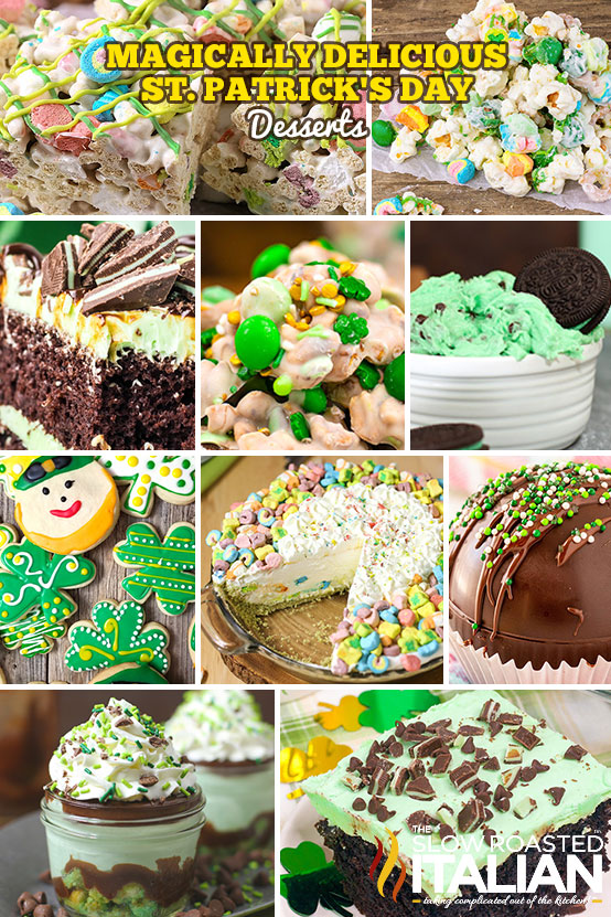 Collage of st patricks Day desserts