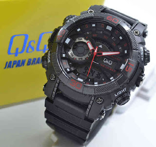 jam tangan Q&Q GW87J002Y double time black rubber Red