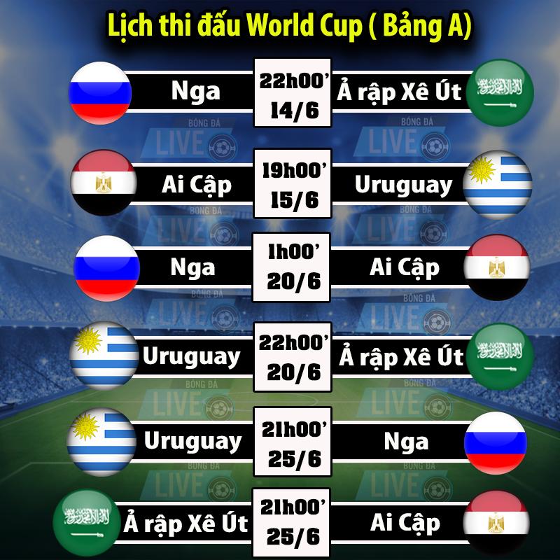 Lịch thi đấu World Cup 2018 - Bảng A
