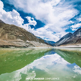INDUS ZANSKAR CONFLUENCE by Inderjit Singh - Landscapes Mountains & Hills ( leh, inderanim, ladakh, landscapes, hues )
