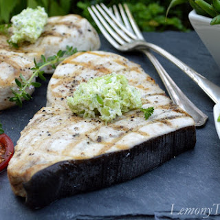 Grilled Swordfish with Lima Bean & Herb Butter.