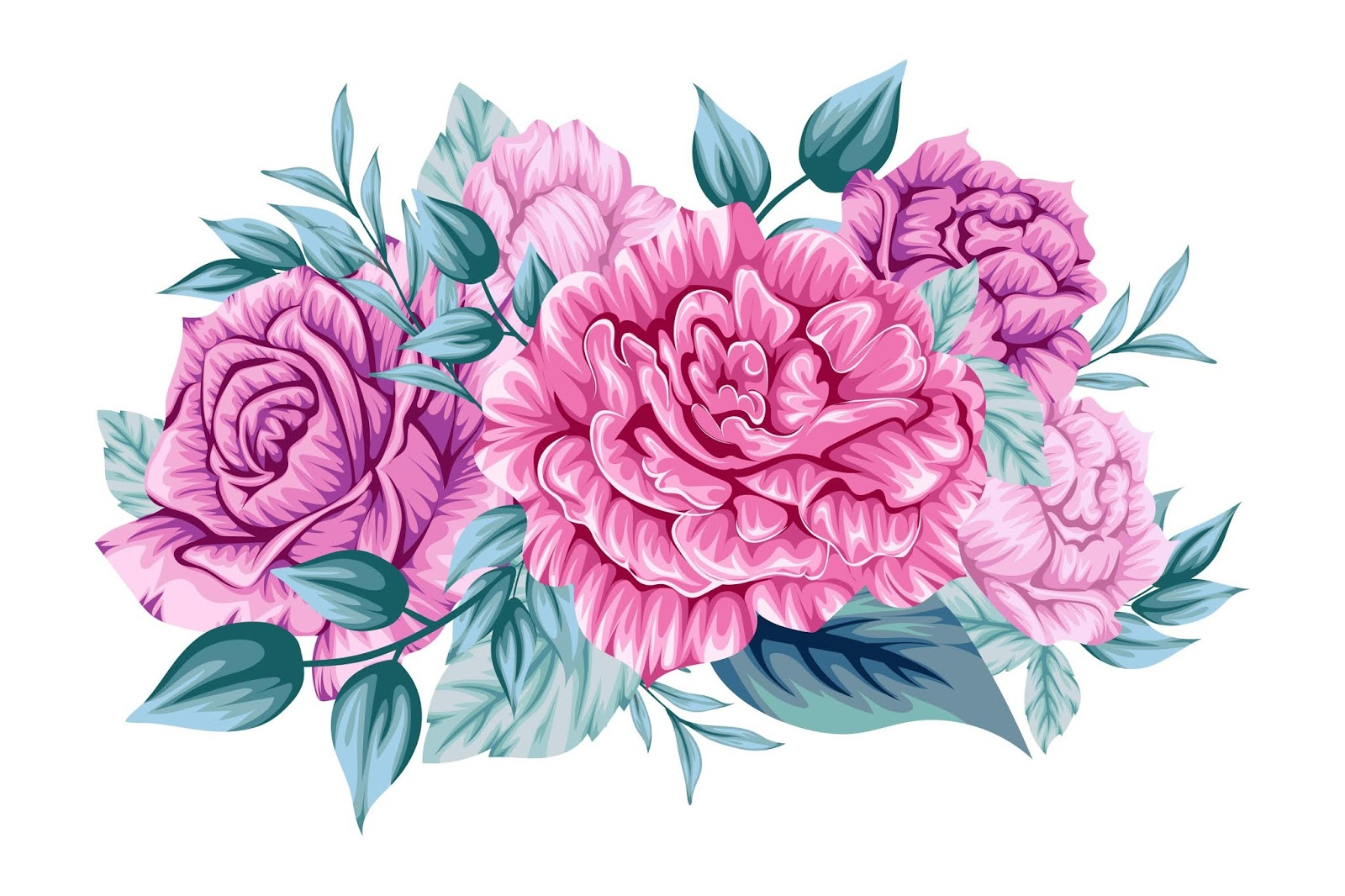 Beautiful Pink Bouquet Flowers Free Download Vector CDR, AI, EPS and PNG Formats