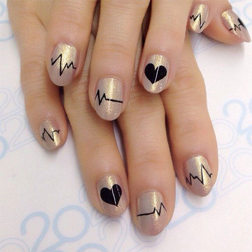 Trendy Valentine's Day Heartbeat Nail Art Designs