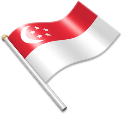 The Singaporean flag on a flagpole clipart image