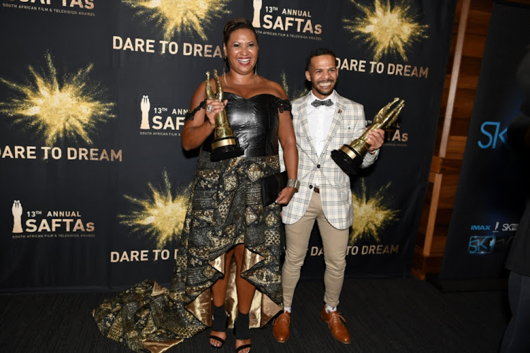 Jill Levenberg and Jarrid Geduld won awards for the 'Ellen, Die Ellen Pakkies Storie' during the 13th annual South African Film and Television Awards (SAFTAs) at the Sun City Superbowl on March 02, 2019 in Rustenburg, South Africa.