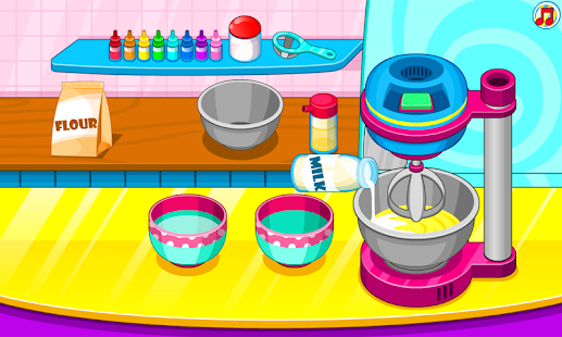 Cooking rainbow cupcakes - náhled