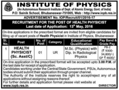 Institute of Physics Recruitment 2016